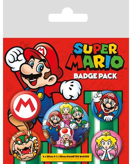 Pack de 5 badges Super Mario Nintendo