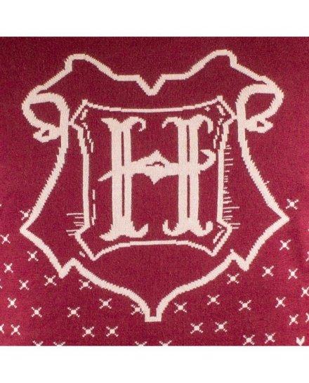 Pull de Noël Harry Potter bordeaux Hogwarts blason