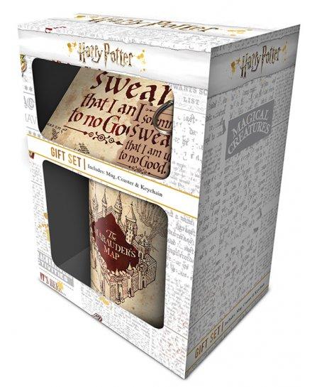 Set Harry Potter Mug sous verre et porte-clés Carte du Maraudeur