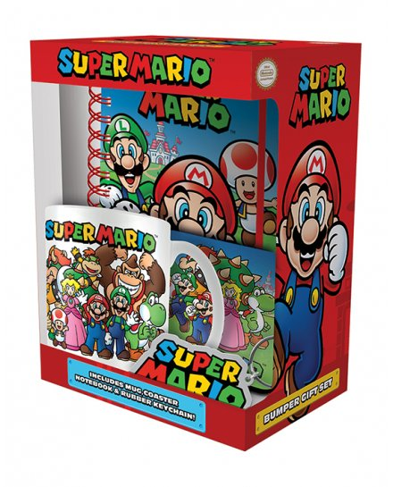Set Super Mario Carnet mug sous verre et porte-clés