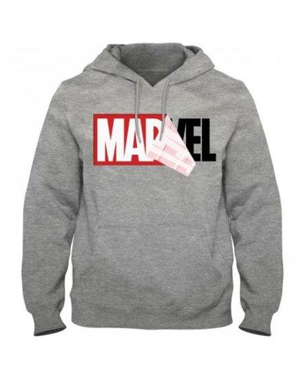 Sweat MARVEL Gris à capuche Logo Mania