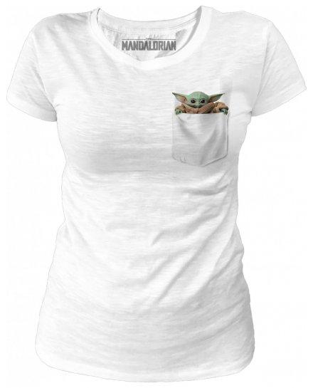 T-shirt Femme Star Wars The Mandalorian - Baby Yoda Pocket