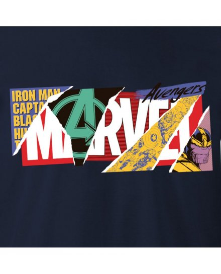 T-shirt MARVEL bleu Logo collage