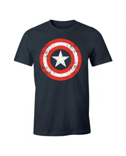 Tee-Shirt Captain America bleu logo vintage