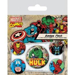Pack de 5 badges Marvel Comics Hulk