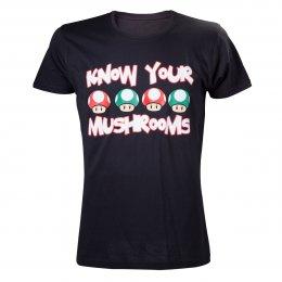 Tee-Shirt Noir Mario Know Your Mushrooms Nintendo