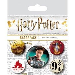 Pack de 5 badges Harry Potter 9 3/4 vif d'or ordre du phoenix et gryffondor