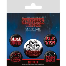 Pack de 5 badges Stranger Things personnages