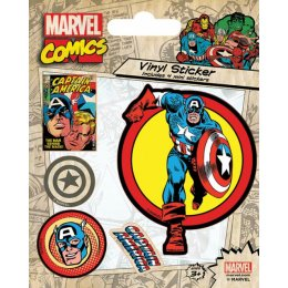 Pack de 5 Stickers Retro Captain America