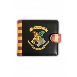 Portefeuille Harry Potter noir rayé blason Poudlard