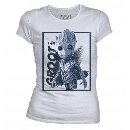 T-Shirt Femme Groot blanc et bleu