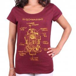 T-shirt Star Wars Femme R2D2 croquis rouge bordeaux