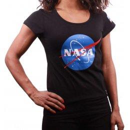 Tee Shirt femme NASA logo noir