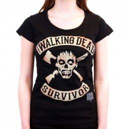 Tee-Shirt Femme Noir Survivor The Walking Dead