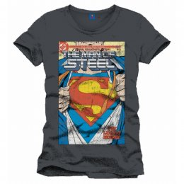 Tee-Shirt Gris Comics The Man of Steel Superman