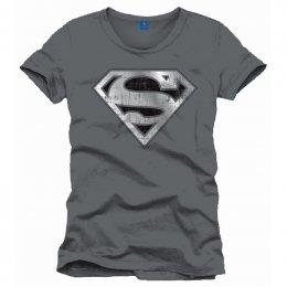 Tee-Shirt Gris Logo Effet Usé Superman