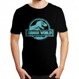 Tee-Shirt Homme Noir Logo Bleu Jurassic Park
