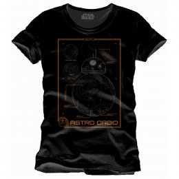 Tee-Shirt Noir BB8 Data Sheed Star Wars