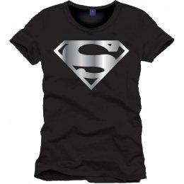 Tee-Shirt Noir Logo Argent Superman