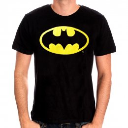 Tee Shirt Noir Logo Batman jaune classique