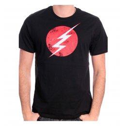 Tee Shirt Noir Logo Distress Flash
