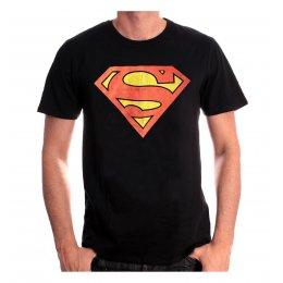 Tee-Shirt Noir Logo Rouge Effet Usé Superman