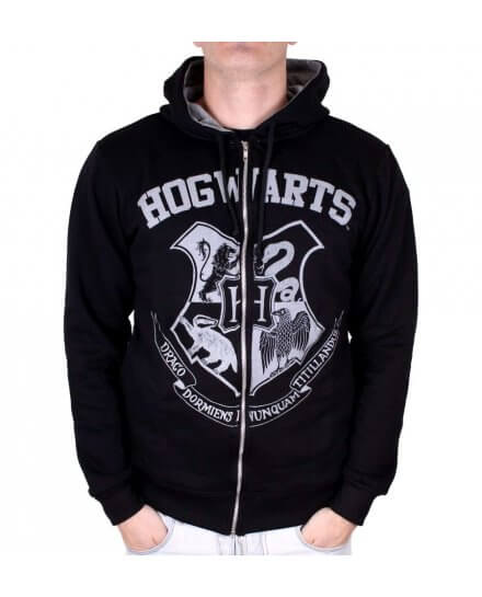 Sweat à capuche Harry Potter Poudlard noir et blanc