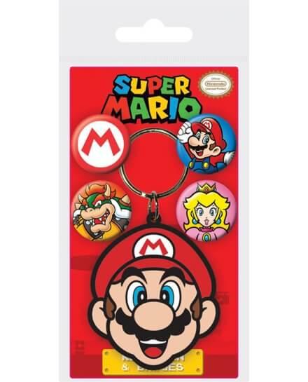 Porte-clés Mario et set de 4 badges Super mario Nintendo