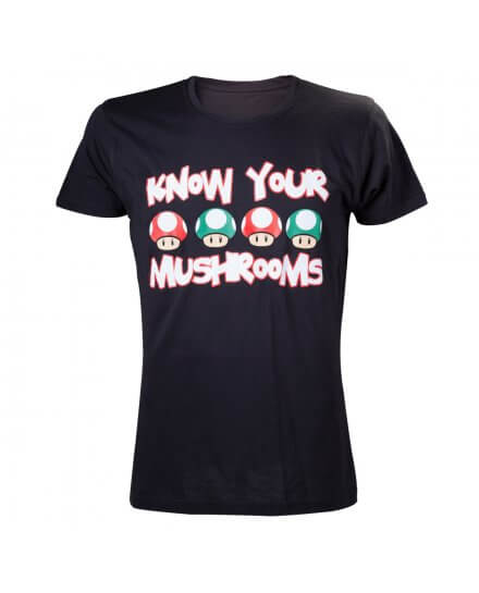 Tee-Shirt Noir Mario Know Your Mushrooms Nintendo