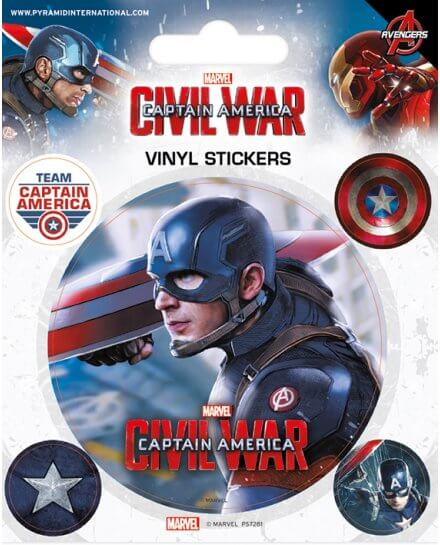 Pack de 5 Stickers Civil War Captain America