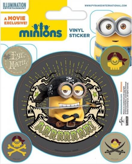 Pack de 5 Stickers Minions Pirates Moi Moche et Méchant