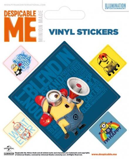 Pack de 5 Stickers Minion Stuart Alarme Moi Moche et Mechant