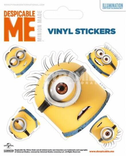 Pack de 5 Stickers Têtes Minions Moi Moche et Mechant