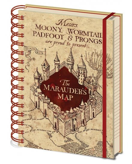 Carnet Bloc Notes A5 Carte du Marauder Harry Potter
