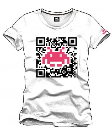 Tee-Shirt Blanc Flash Code Space Invaders
