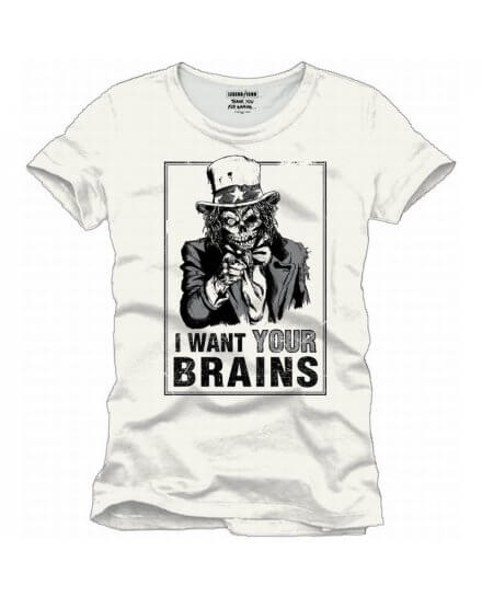 Tee-Shirt Blanc I Want Your Brains Geek