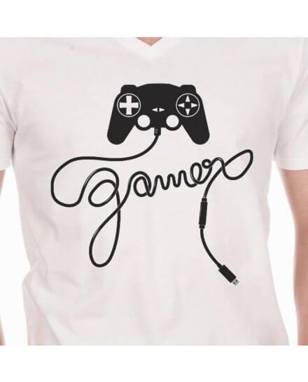 Tee-Shirt Blanc Manette Gamer Geek