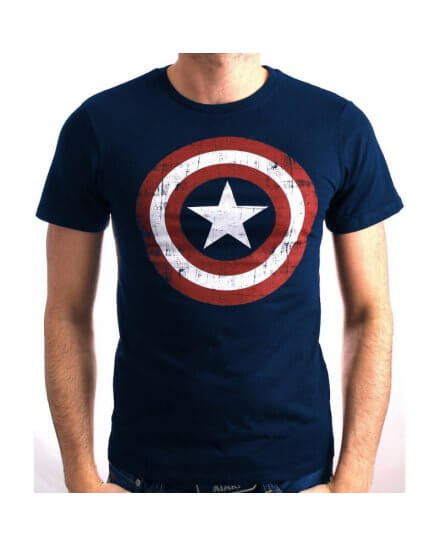 Tee-Shirt Bleu Marine Logo Shield Captain America