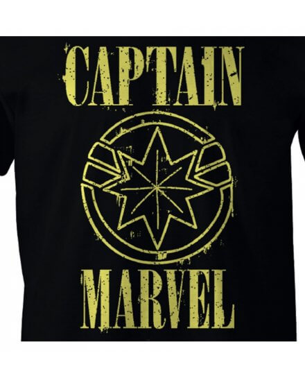 Tee-Shirt Captain Marvel noir logo jaune