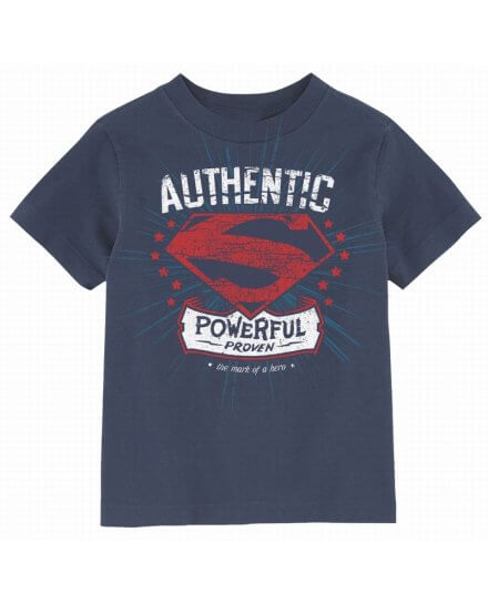 Tee Shirt Enfant Bleu Authentic Powerful Superman