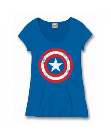 Tee-Shirt Femme Bleu Logo Shield Captain America