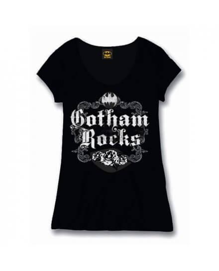 Tee Shirt Femme Noir Gotham Rocks Batman