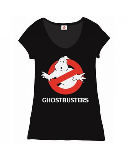 Tee-Shirt Femme Noir Logo Ghostbusters