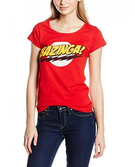 Tee-Shirt Femme Rouge Texte Bazinga The Big Bang Theory