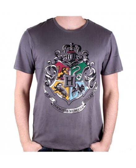 Tee-Shirt Harry Potter gris 4 écoles silver