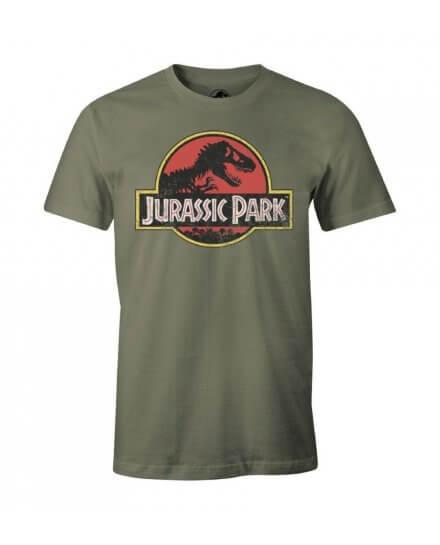Tee-Shirt Jurassic Park kaki Logo vintage