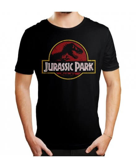 Tee-Shirt Jurassic Park Noir Logo vintage