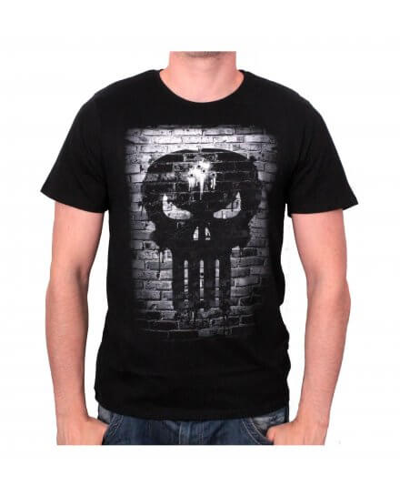Tee-Shirt Noir Bricks Skull Punisher