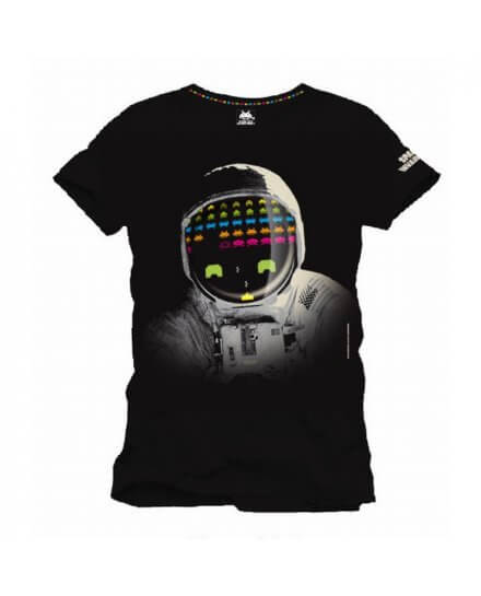 Tee-Shirt Noir Cosmonaute Space Invaders