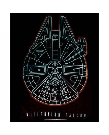 Tee-Shirt Noir Millennium Falcon Bleu Star Wars